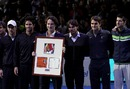 Carlos Moya receives a presentation at his retirement ceremony