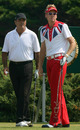 Seve Ballesteros glances at Ian Poulter's outfit