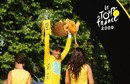Yellow Jersey holder and race winner Alberto Contador of Spain and Astana celebrates on the podium after Stage 21 of the Tour de France