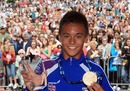 Tom Daley in home city of Plymouth during a homecoming parade to celebrate the 15-year-old winning a gold medal at the World Diving Championship