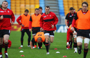 Sam Warburton trains with the Wales squad