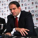 Martin Johnson at a press conference to announce his resignation