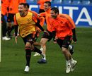 John Terry and Frank Lampard laugh during a training session