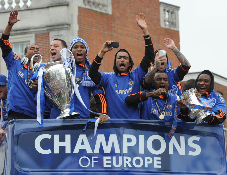 Chelsea parade the Champions League trophy