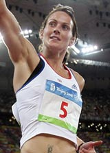 Kelly Sotherton finishes the 800m at the Beijing Olympics