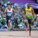 Adam Gemili trails Yohan Blake across the line
