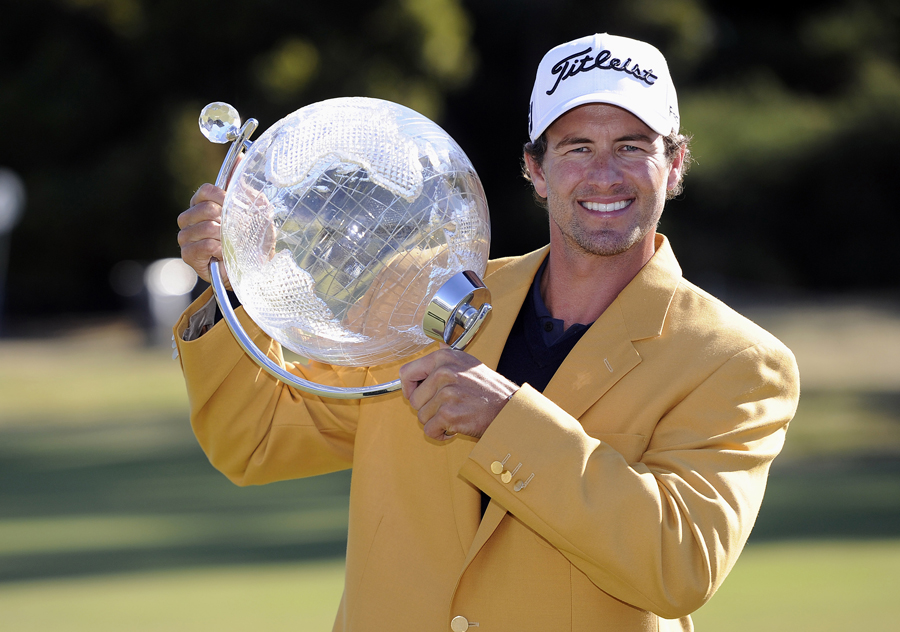 Adam Scott with his prize
