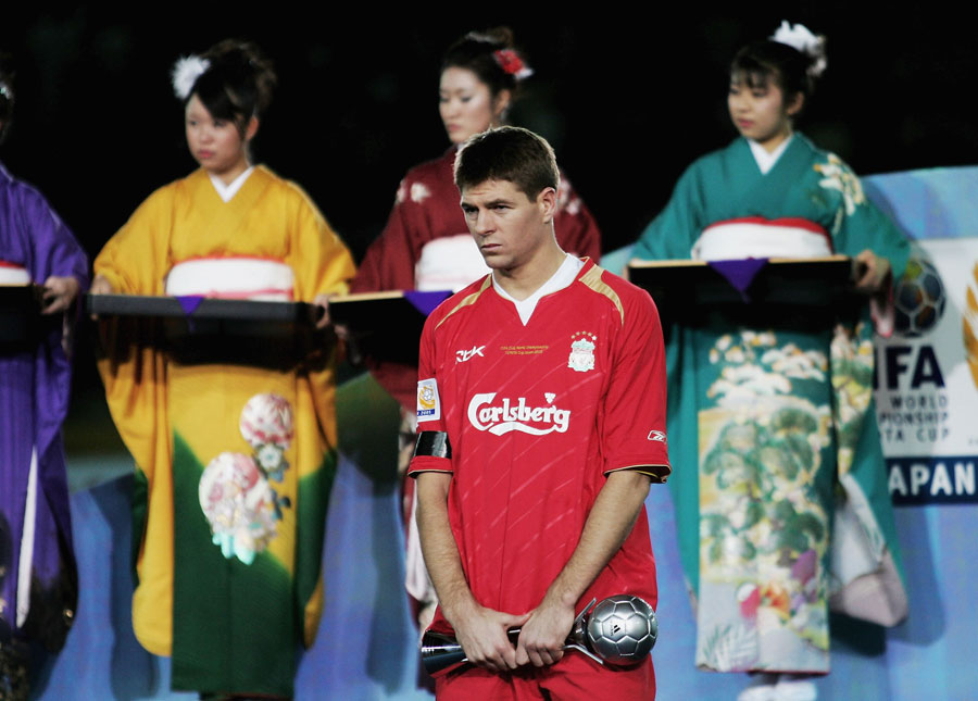 Steven Gerrard cuts a dejected figure at the end of the 2005 FIFA Club World Championship Final