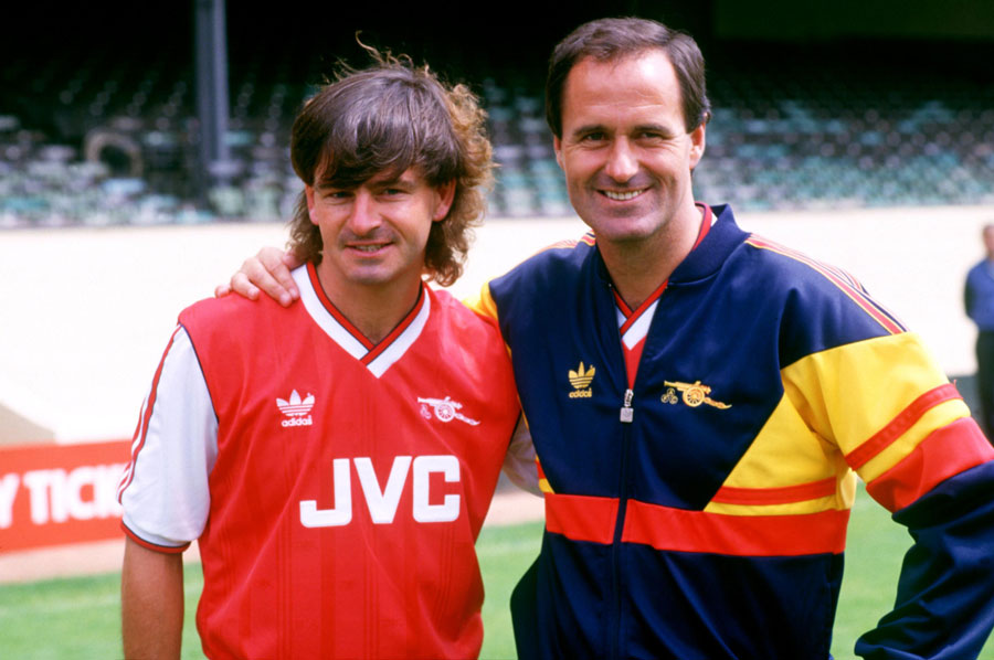 Arsenal manager George Graham and striker Charlie Nicholas pose for photos