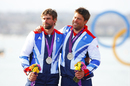 Ian Piercy and Andrew Simpson celebrate their medals