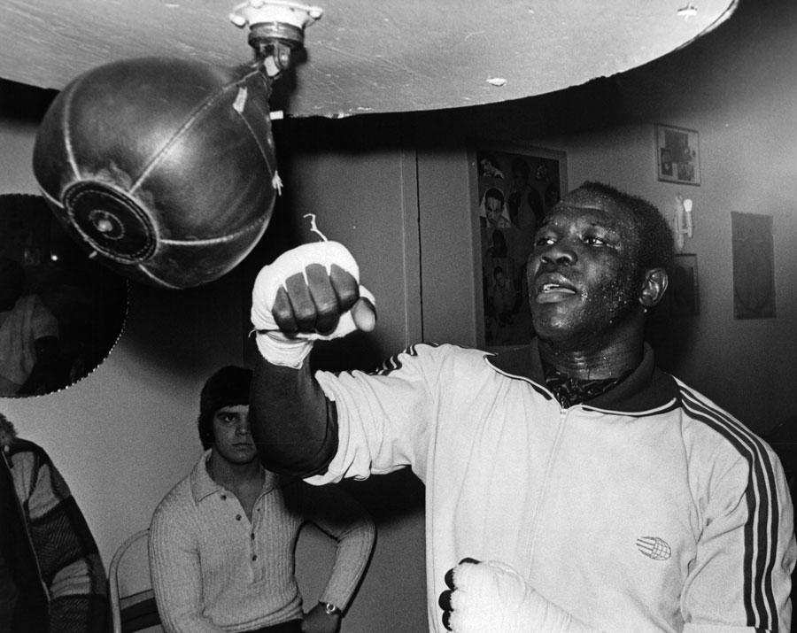 Emile Griffith trains with the speed bag