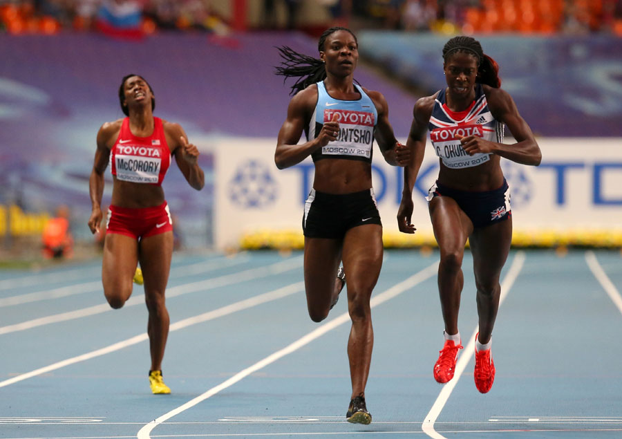 Christine Ohuruogu dips to edge out Amantle Montsho to win gold