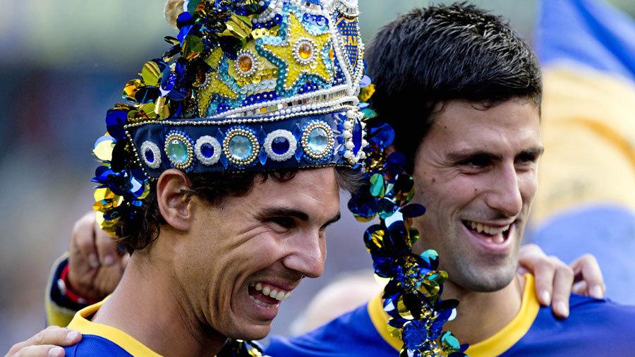 Rafa Nadal & Novak Djokovic face off in a penalty shoot out pre Boca Juniors v All Boys [video]