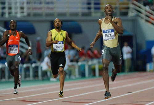 LaShawn Merritt leads home the field in the Men's 400 metres