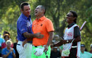 Scott Hend and Angelo Que share a joke at the end of the Hong Kong Open