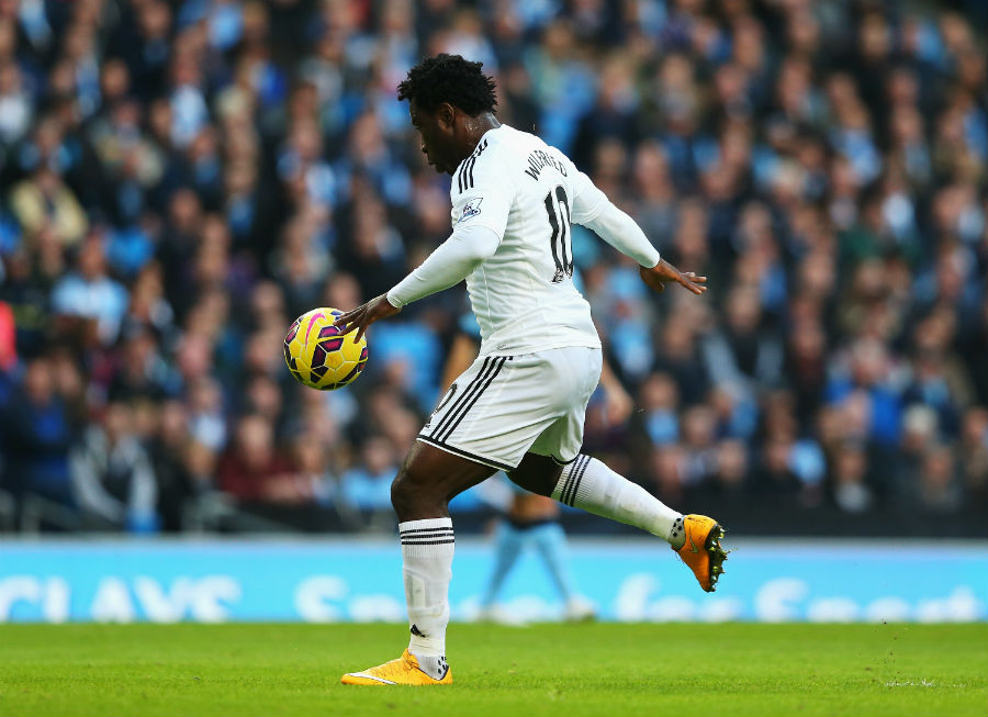 Wilfried Bony fires Swansea into a surprise lead at Manchester City