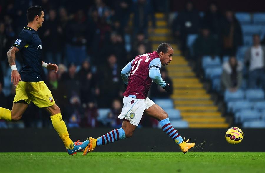 Gabriel Agbonlahor scores Aston Villa's opener