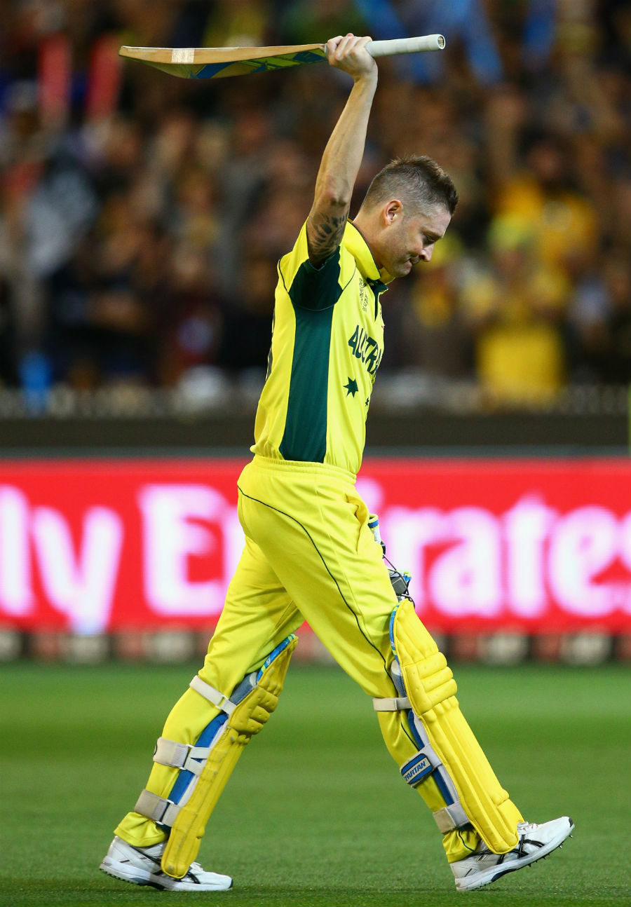 An emotional Michael Clarke leaves the field after making 74 in his last ODI for Australia